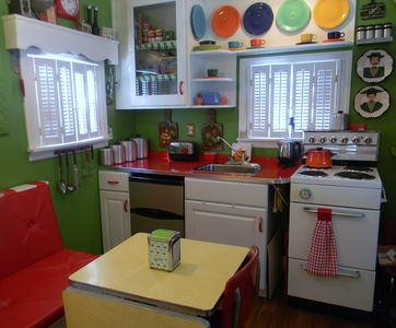 Retro Kitchenette with Cracked Ice Formica Counter