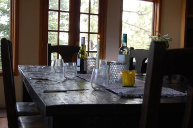 Rustic and Comfortable Farm Table.  Seats 12!