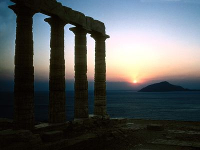 Sunset at the temple of Poseidon - a 2 minute drive from the house