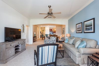 The Open Design of the Condo Connects Living and Dining Areas - You don't lose that million-dollar view when you leave the living room at Cinnamon Beach 452! The open design means that you can see the sea and sky even from way back in the kitchen!