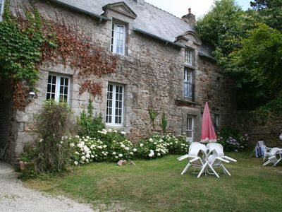 Photo for Apartment in XVIIth Century Breton mansion, large enclosed garden, outside plays