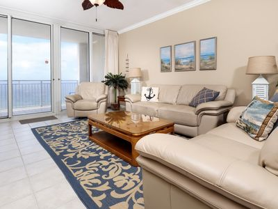 Photo for Comfortable gulf front condo, 2 beach chairs included, Minutes to dining