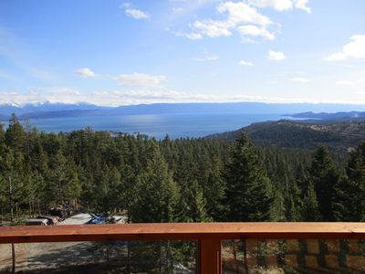 Flathead Lake from the Redwood Deck, looking down onto horse barn location