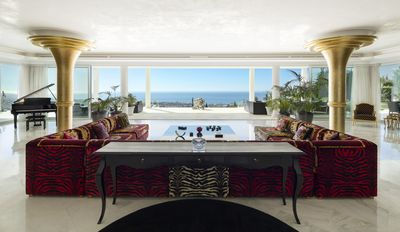 Stunning versace lounge with spectacular views over Marbella and to Morocco.