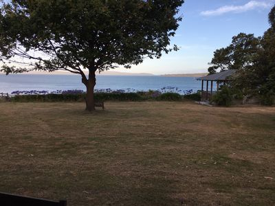 """View from the verandah. That's """"The Neck"""" of Bruny Island in the distance."""