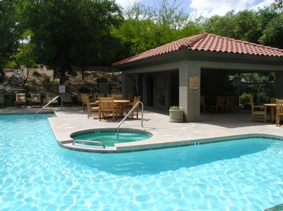 pool/spa and nice area with tables