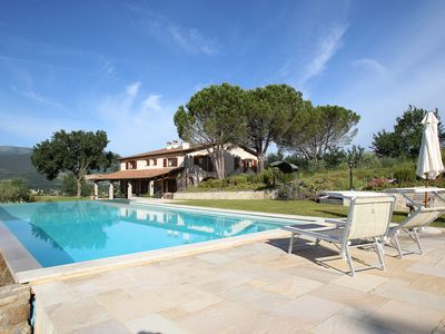 Photo for Beautiful spacious villa, 5 Beds, 15m Infinity Pool, lift, Garden, olive trees.
