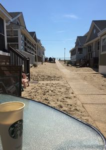 You morning coffee looking up at the boardwalk only 4 houses down, ahhhh!