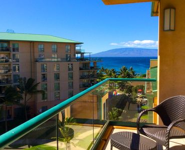 Beautiful partial ocean view with the island of Lana'i in the distance from your lanai.