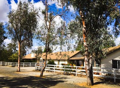 Front of Property the Rancho and the Casita with the garages in between.