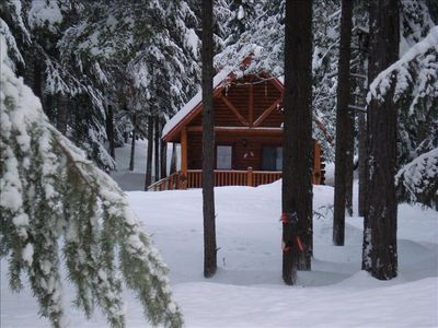 Cabin in Winter~front view of cabin in Yaak River Valley