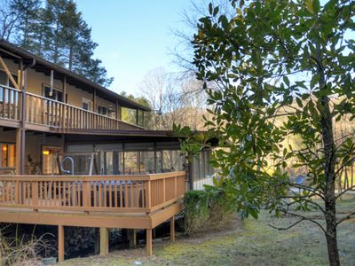 Photo for Lakeside Chalet - Pets Welcome, Sleeps 6, Hot Tub, 2 Fireplaces. WIFI. Firepit.