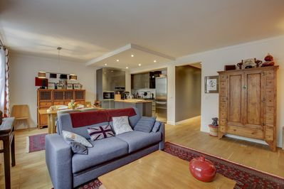 The open-plan living, dining and kitchen area