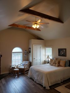 Enjoy a clean, spacious suite with fireplace, private bath, and idyllic views.