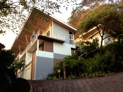 Contemporary, secure, multi-level home in beautiful garden setting with ocean views