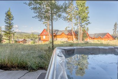 Enjoy views of Byers Peak from the private hot tub