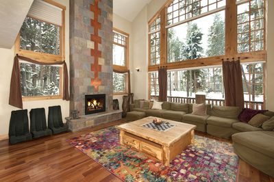 Sunbeam Lodge living room with fireplace