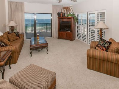 Photo for Gulf-Front 3/3, Slps 6, Blcny, WiFi, W/D, Pool/Tennis/Sauna/Fit Ctr, Free Activities - The Palms 716
