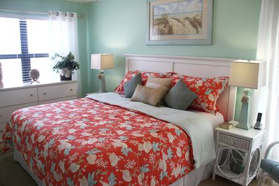 Gulf front master bedroom with king size bed.