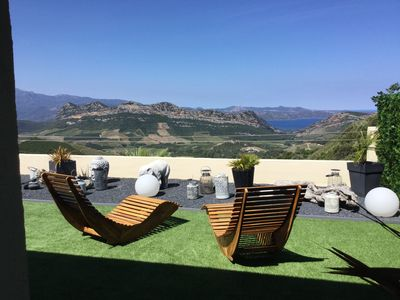 Photo for Beautiful apartment with view over the Bay of St Florent