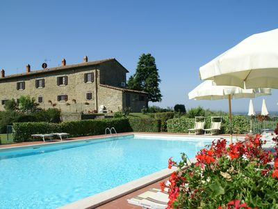 Photo for Spacious apartment, part of fattoria, with enclosed swimming pool and barbecue