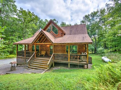 Photo for Beautiful log home w/ firepit, air hockey & community beach on the lake!