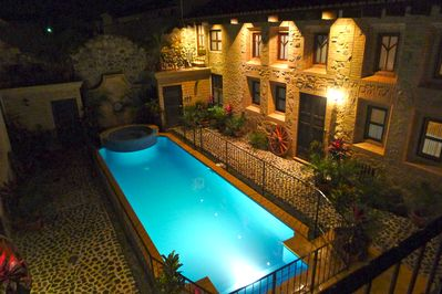 Our courtyard at night.