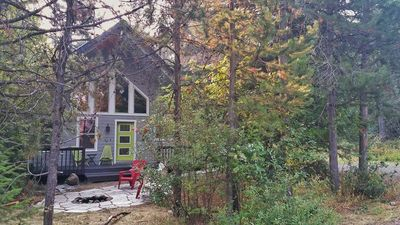 Photo for Sweet Spot! Easy 1/2 mi walk to town/Lake Payette from cabin in the trees!