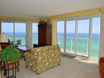 Beachside II 4314 Living Room - The picturesque views can be seen savored from the balcony or in the living room!
