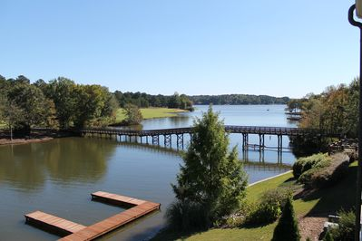 View from top deck of Villa, view of lake, docks and Cuscowilla 10th fairway.