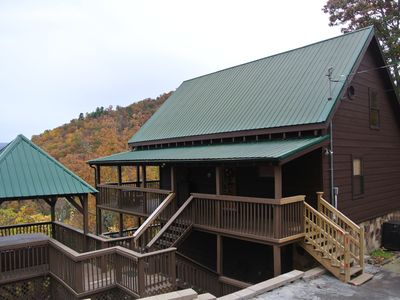 Photo for Private Mtn Cabin, Great Mountain Views, 3Br-3Ba, 2 Fireplaces, Hot Tub, Arcade