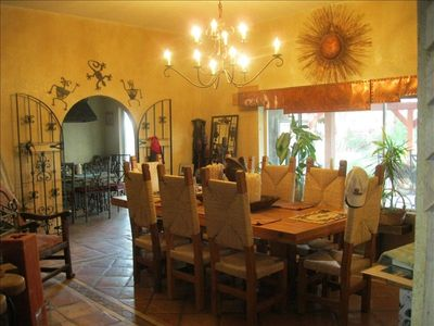 Gorgeous dining area  and entrance to the kitchen ,