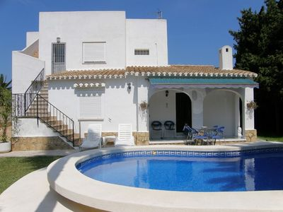 Photo for Villa with a beautiful secluded garden & private pool near beach