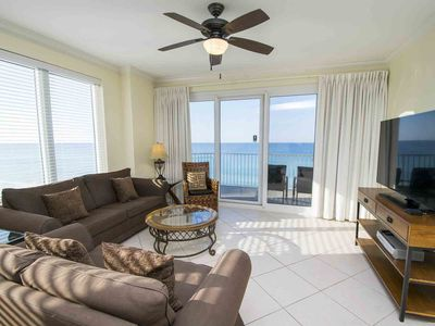 Photo for Beachfront Condo on Panama City Beach. Free Beach Service in Season! Large Beachfront Balcony