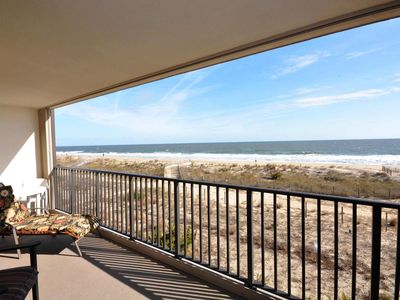 Photo for Cozy 2 Bedroom Ocean Front Condo with Amazing View from Covered Balcony and Free WiFi Located Midtown and Just Steps to the Beach!