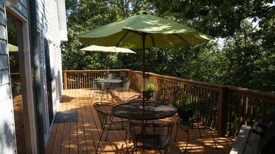 Upper deck nestled in tree tops.  Call 316-670-4413 or 316-209-5860 for details.