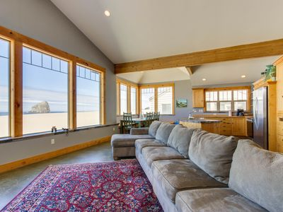 Photo for Gorgeous oceanfront home with incredible views of Haystack Rock - dogs welcome!
