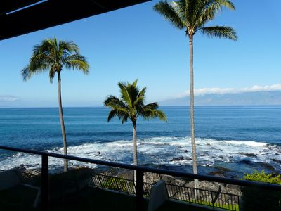 Breathtaking view from our lanai facing Molaki. Note the crashing waves.