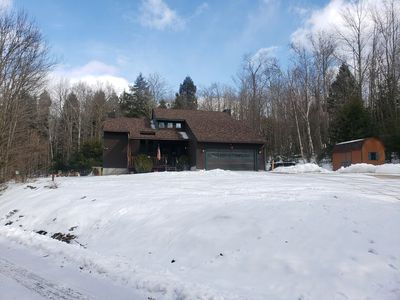 Photo for The perfect mountain getaway nestled in the woods 2 min from downtown Windham.