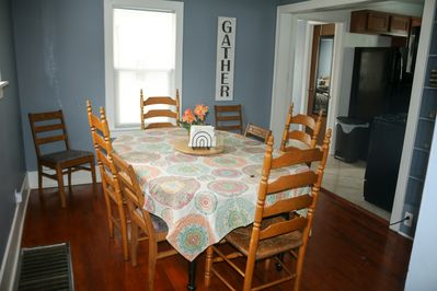 Dining room sits 6 easily,  more snugly
