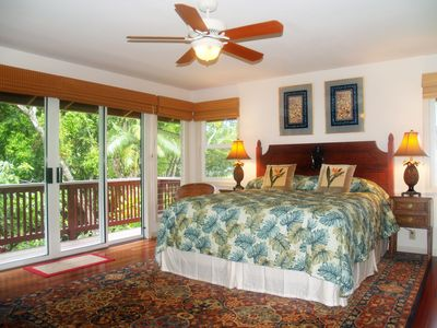 There's a large master suite that looks out over the river.