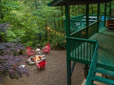 Photo for Mountain home with covered deck, hot tub, & fire pit - wood-burning fireplace!