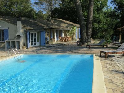 Photo for Nice holiday house with a lot of privacy and private pool in the forest.