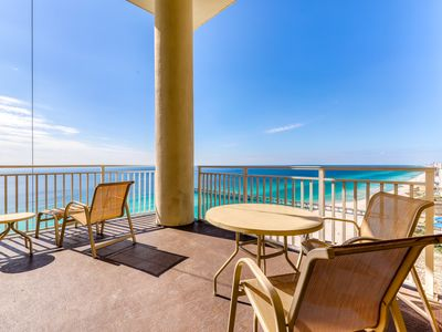 Photo for High-end beachfront condo w/ shared pools and gym! Walk to the beach!