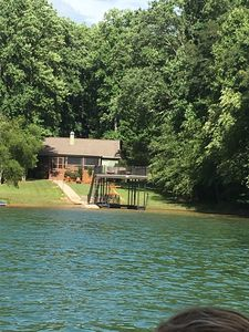 View of house and dock from the lake - unheard of privacy