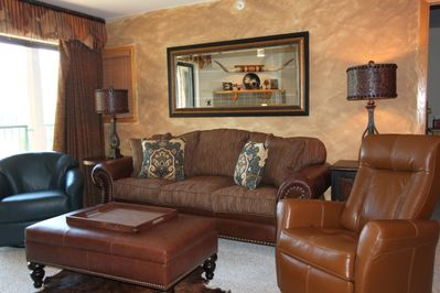 "New Living Room Sofa, Recliner, Swivel Rocker and 60"" TV with Netflix and Music!"
