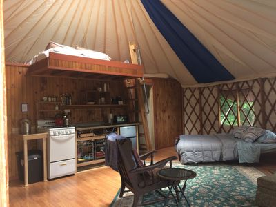 Photo for Cozy Clean Yurt, nestled privately in woods and gardens