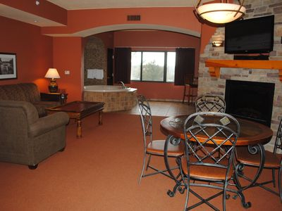 Photo for #2621 Spacious Two-Bedroom with Private Patio, Full Kitchen, Jacuzzi, Fireplace