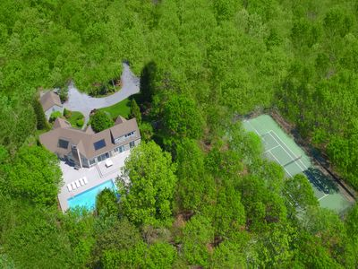 Photo for Design oriented, minimalist retreat. Private on 4 acres woods with pool + tennis
