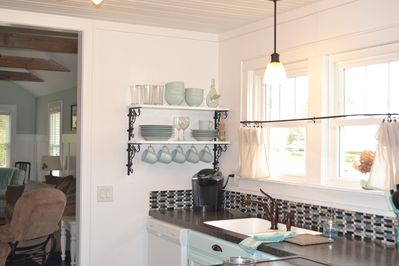 Bright kitchen with Keurig and coffeepot
